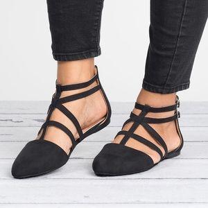 Caged Black Almond Toe Flats